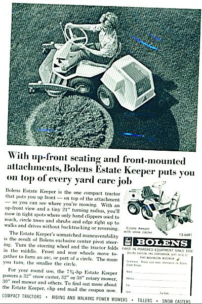 Bolens Riding Lawn Mowers Ad 1966