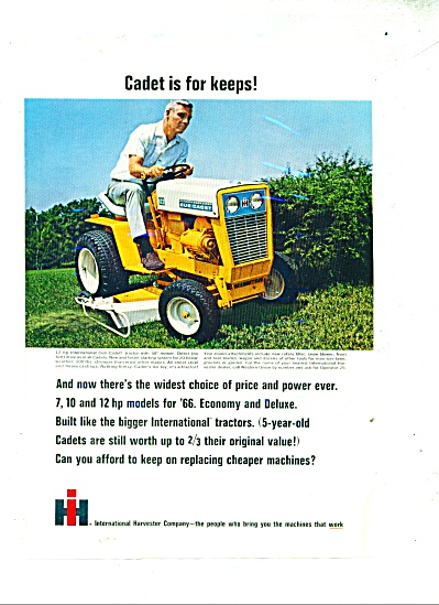 International Harvester Club Cadet Ad 1966