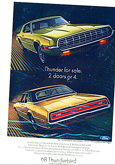 Thunderbird automobile for 1968 ad (Image1)