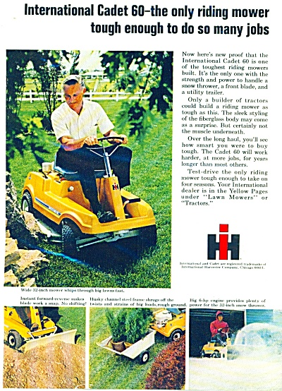 International Harvester Riding Mower Ad -1969