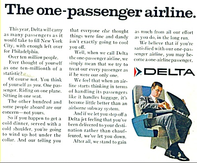 1968 Delta Airlines AD ONE PASSENGER AIRLINE (Image1)