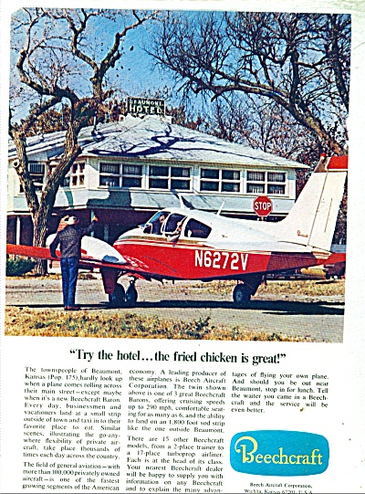 Beechcraft Aircraft Corporation Ad - 1968