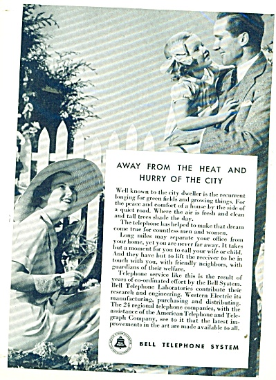 1935 Bell Telephone Ad Mom Dad Girl Photo Pic