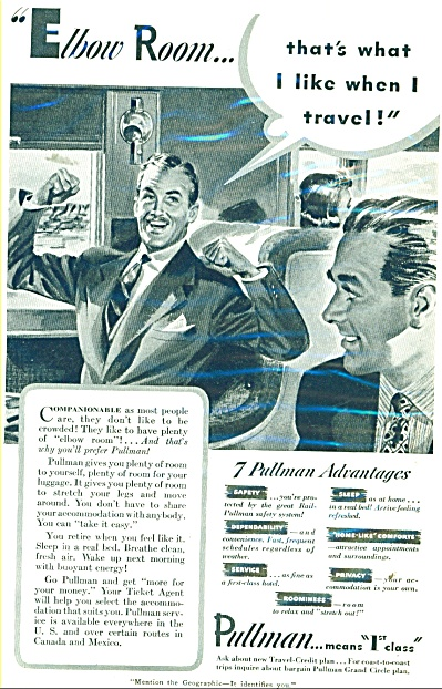 1941 Pullman Train TRAVEL AD (Image1)