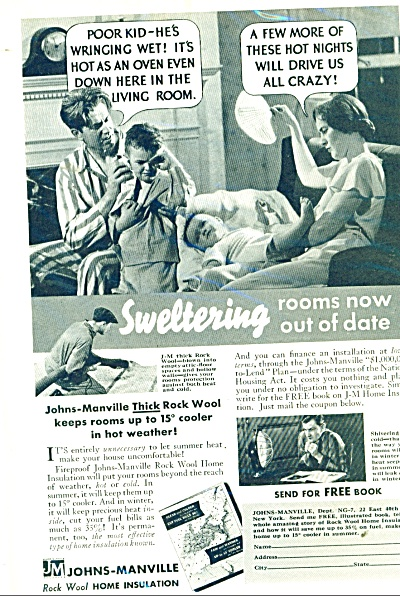 1935 Johns Manville Home Insulation ROCK WOOL PHOTO AD (Image1)
