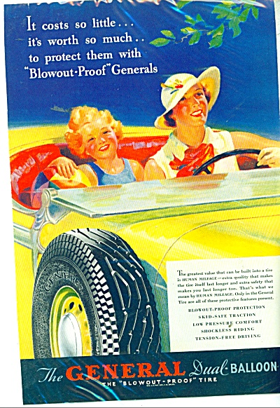 1935 General Tire Ad Stunning Artwork