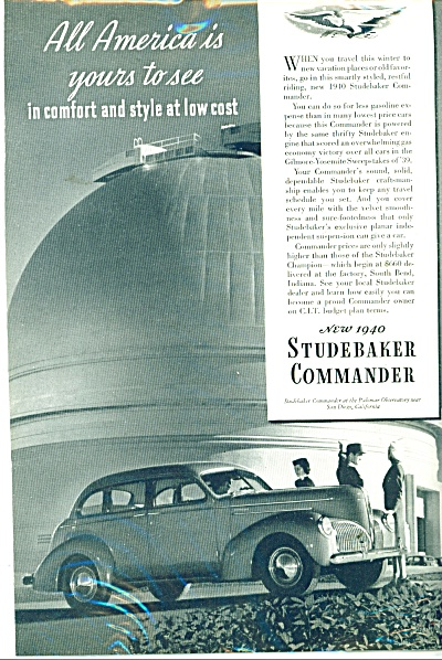 1939 Studebaker Commander auto for 1940 ad (Image1)