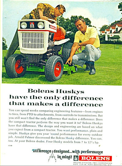Bolens lawn tractors ad 1968 - ARNOLD PALMER (Image1)