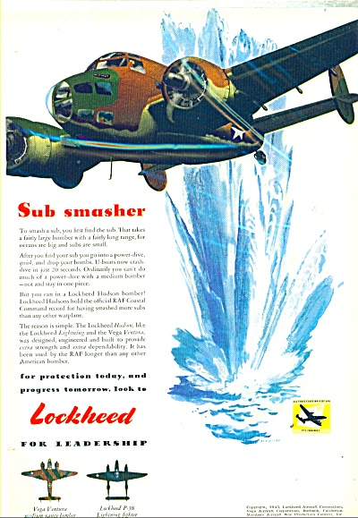 Lockheed Aircraft Ad 1943 Ren Wicks Art