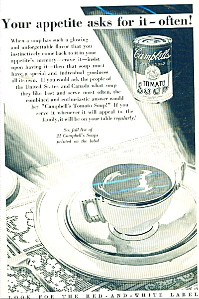 Campbell's Tomato Soup ad 1932 Your Appetite Asks For  (Image1)