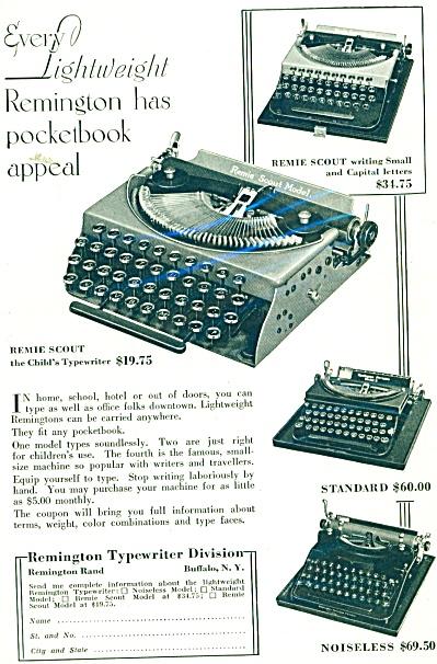 Remington Typewriter Division ad 1932 (Image1)