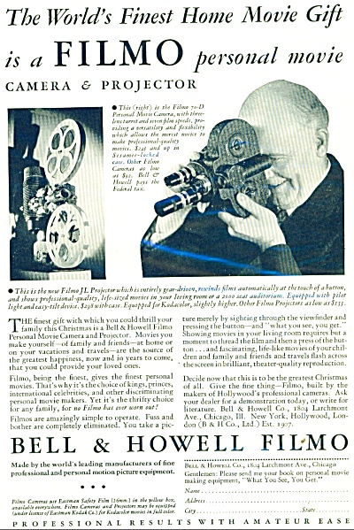 1932 Bell & Howell FILMO Movie CAMERA AD (Image1)