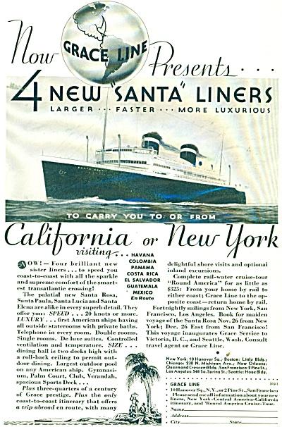 1932 Grace Lines Ship Original AD - 4 New Santa Liners (Image1)