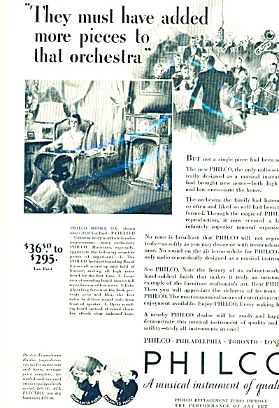 1932 Philco radio AD Beautiful vintage ART (Image1)