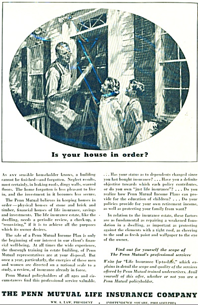 1934 Penn Mutual Life Insurance AD BEAUTIFUL ARTWORK (Image1)