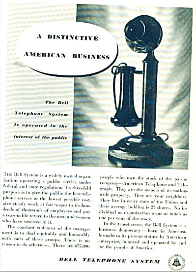 Bell Telephone System Ad - 1934