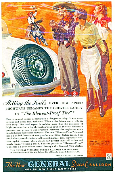 1934 General Balloon Tires Ad Trail Ride Art