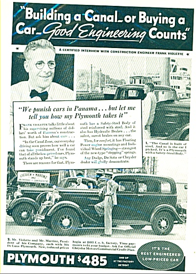 Plymouth Automobile Ad In 1934