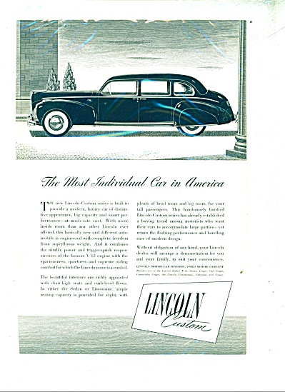 1941 Ford LINCOLN Promo CAR AD COOL ARTWORK (Image1)