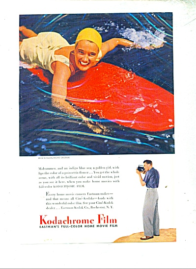1941 Kodachrome film ad GIRL SWIMSUIT Bathing (Image1)