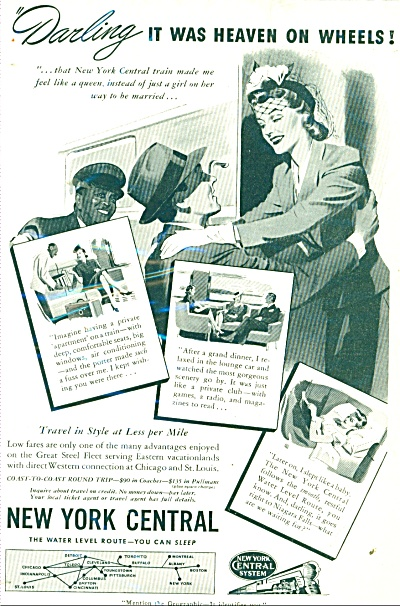 1941 New York Central Railroad AD HONEYMOON (Image1)