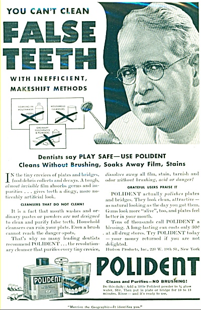 Polident false teeth cleaner ad 1941 (Image1)