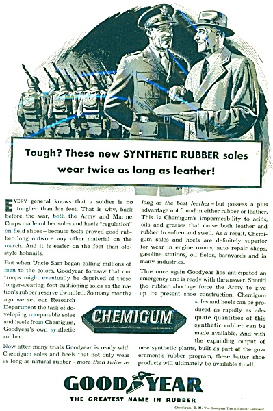 1943 Goodyear Tire AD Chemigum MILITARY Gener (Image1)
