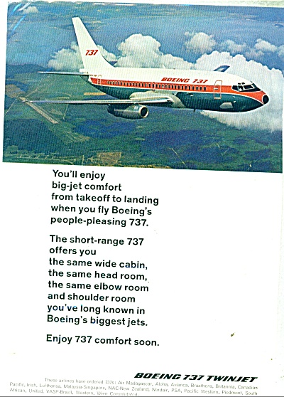 Boeing 737 Twinjet Ad - 1968