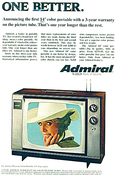 Admiral Television Ad 1968