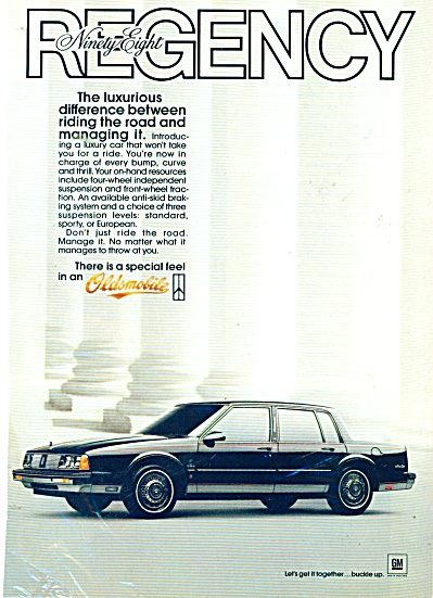 Oldsmobile regency ninety eight auto ad 1985 (Image1)