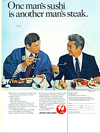 1973 Japan Air Lines Plane Ad Sushi - Steak