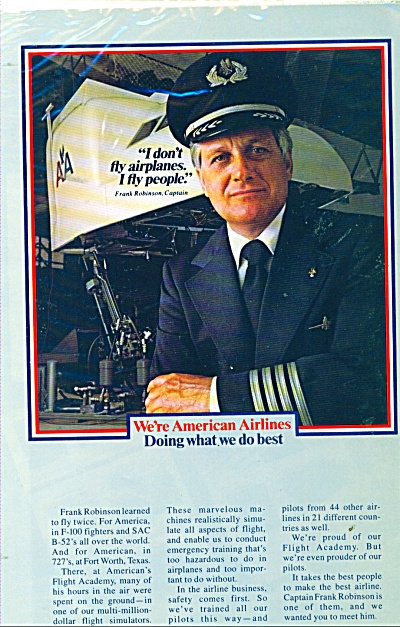 American Airlines Ad Frank Robinson Captain