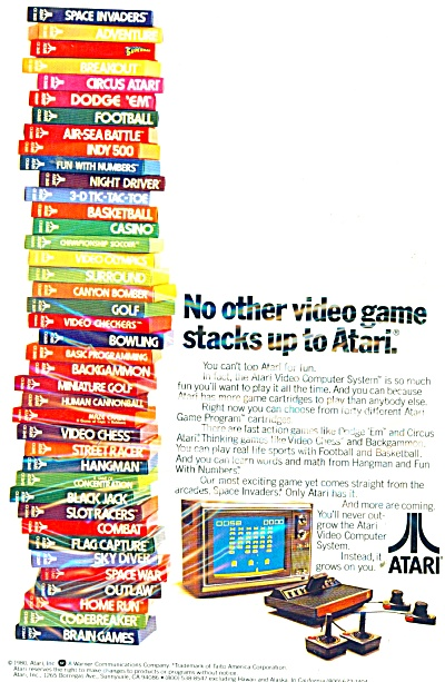 1980 Atari Game Console Advertisement w/ Video Games (Image1)
