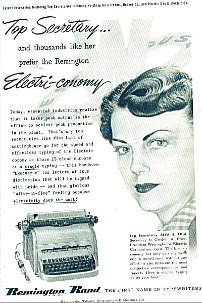 Remington Rand typewriter     1952 ad (Image1)
