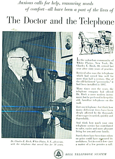 Bell Telephone System Ad 1952 Dr. Charles Birch