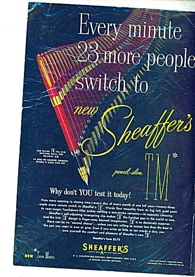 Sheaffers Pens ad   - 1952 (Image1)