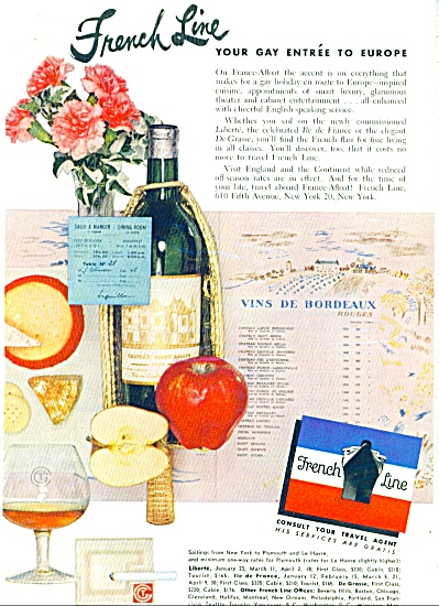 1952 French Line Cruise Ship Ad Gay Entree