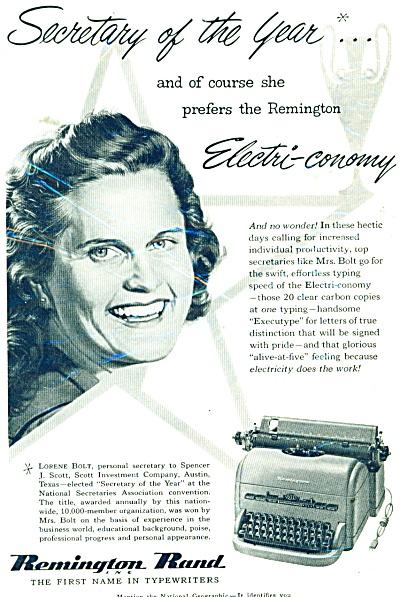 Remington Rand typewriter ad - 1952 (Image1)