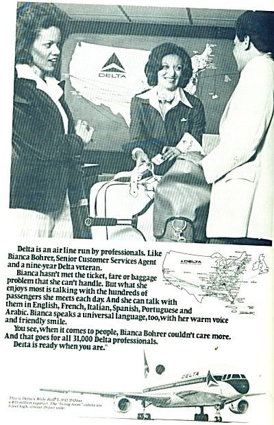 1978 Delta Airlines AD Customer Service (Image1)