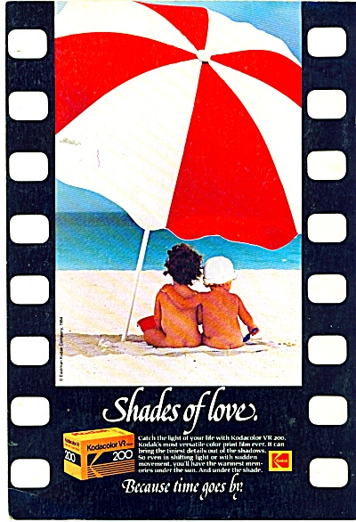 Kodacolor Kodak film ad - 1984 NUDE KIDS ON BEACH (Image1)