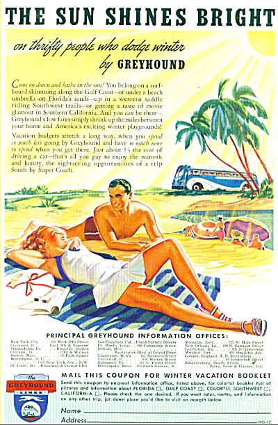 1939 Greyhound Bus Travel Ad Bathing Swim Cou