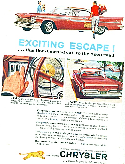 1959 Chrysler Promo Car AD EXCITING ESCAPE (Image1)