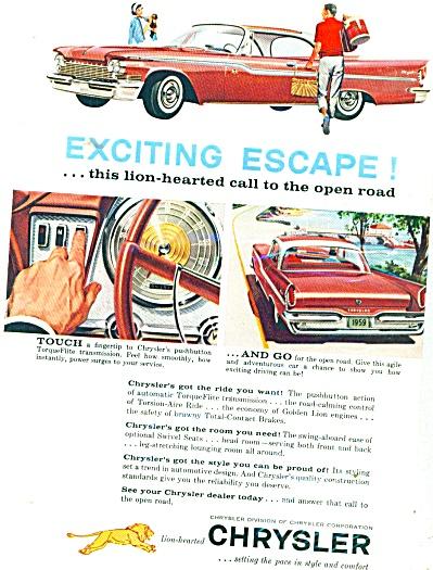1959 Chrysler Promo Car AD EXCITING ESCAPE (Image1)