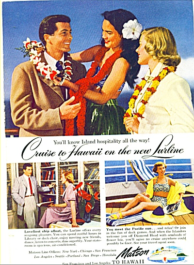 1949 MATSON Cuise SHIP to Hawaii AD LURLINE (Image1)