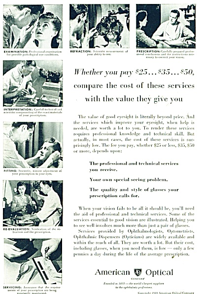 Ameican Optical company  ad 1949 (Image1)
