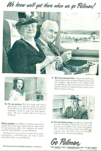 1949 PULLMAN Train AD Elderly Couple Travel (Image1)
