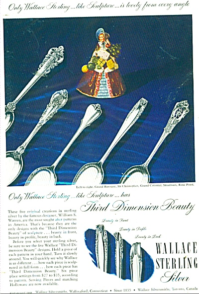 1949 Wallace Sterling Silver Ad Sculpture Baroque