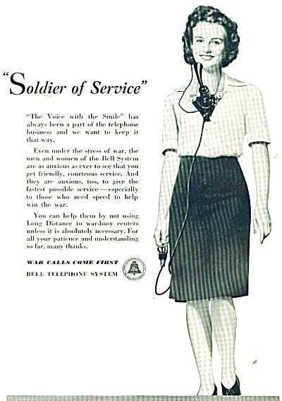 1943 Bell Telephone Operator Soldier Of Service Ad Wwii