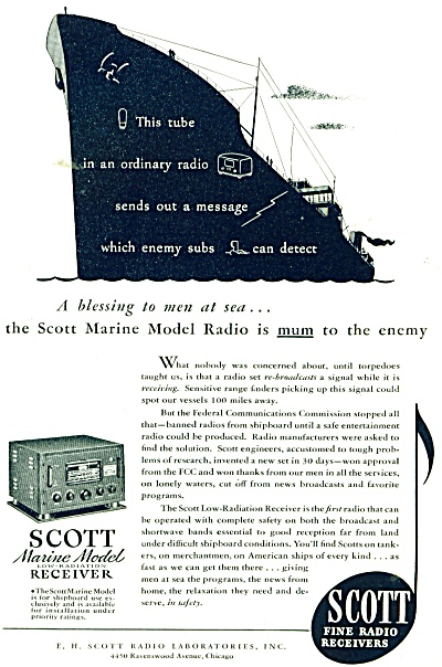 Scott Fine Radio Receivers Ad 1943