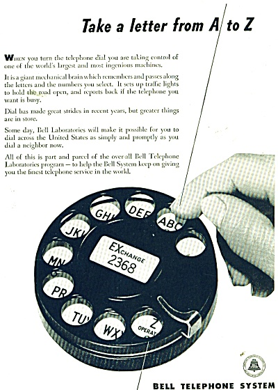Bell Telephone System ad 1946 ROTARY DIAL (Image1)